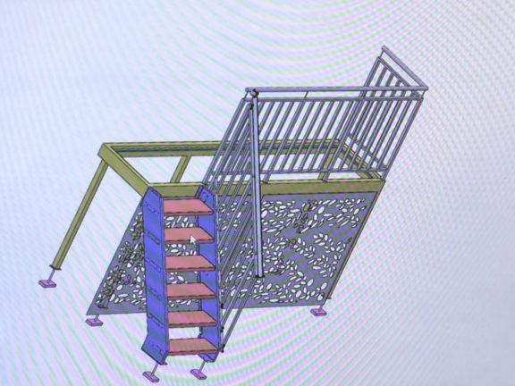tolerie agencement escalier inox - plan